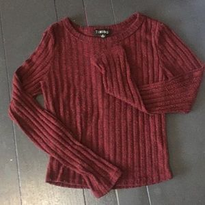 Cropped Dark Red Long Sleeve Rib Knit Sweater